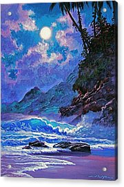 Moon Over Maui Acrylic Print by David Lloyd Glover