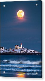 Moon Over Nubble Acrylic Print by Benjamin Williamson