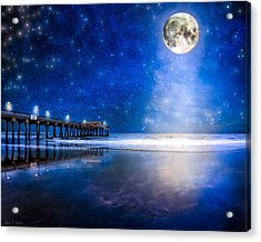 Moon Over The Beach At Tybee Island Acrylic Print by Mark E Tisdale