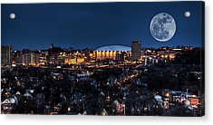Moon Over The Carrier Dome Acrylic Print by Everet Regal
