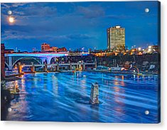 Moon Over The Mississippi Acrylic Print by Amanda Stadther