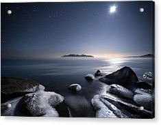Moon Over Thunder Bay From Silver Harbour Acrylic Print by Jakub Sisak