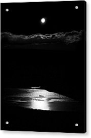 Moon Over Trout Creek Pond Acrylic Print by Patrick Derickson