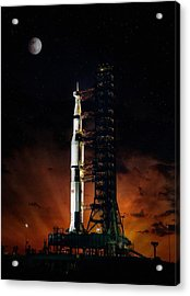 Moon Shot Acrylic Print by Peter Chilelli