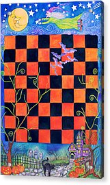 Flight Of The Moon Witch Checkerboard Acrylic Print by Janet Immordino