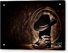 Moonlight Cowboy Acrylic Print by Olivier Le Queinec