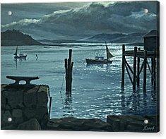 Moonlight On The Harbor Acrylic Print by Paul Krapf