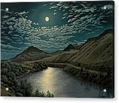 Moonlight On The Yellowstone Acrylic Print by Paul Krapf