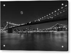 Moonrise Over Manhattan Bw Acrylic Print by Susan Candelario
