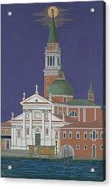 Moonrise Over Venice Acrylic Print by David Hinchen