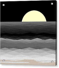 Moonrise Surf Acrylic Print by Val Arie