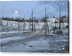 Moonset At Mammoth Terrace-yellowstone Acrylic Print by Sandra Bronstein