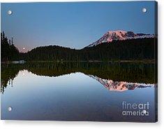 Moonset Over Rainier Acrylic Print by Mike  Dawson