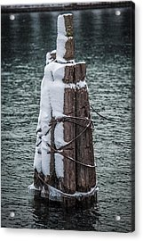 Moorings In A Snow Storm Acrylic Print by Paul Freidlund