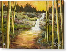 Morning Glow By Vic Mastis With Oil And Gold Leaf Acrylic Print by Vic  Mastis