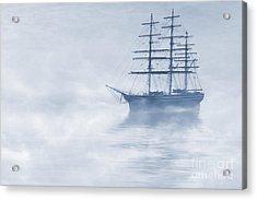 Morning Mists Cyanotype Acrylic Print by John Edwards