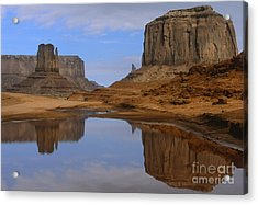 Morning Reflections In Monument Valley Acrylic Print by Sandra Bronstein