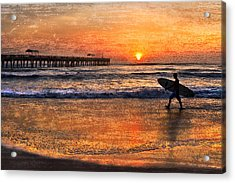 Morning Surf Acrylic Print by Debra and Dave Vanderlaan