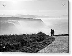 Morning Walk With Sea Mist Acrylic Print by Mikel Martinez de Osaba