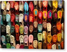 Moroccan Babouches Old Medina Marrakesh Morocco Acrylic Print by Ralph A  Ledergerber-Photography