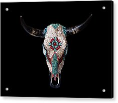 Mosaic Cow Skull Acrylic Print by Katherine Sutcliffe