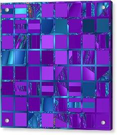 Mosaic In Purple And Teal Acrylic Print by Judi Suni Hall