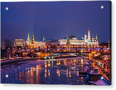 Moscow Kremlin And Big Stone Bridge At Winter Night - Featured 3 Acrylic Print by Alexander Senin