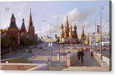 Moscow. Vasilevsky Descent. Views Of Red Square. Acrylic Print by Ramil Gappasov