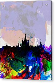 Moscow Watercolor Skyline Acrylic Print by Naxart Studio