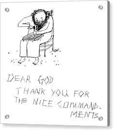 Moses Engraves Dear G-d Acrylic Print by Edward Steed