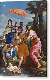 Moses Rescued From The Water Acrylic Print by Giovanni Francesco Romanelli