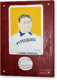 Most Expensive Card T206 Honus Wagner And Signed Baseball Acrylic Print by Richard W Linford