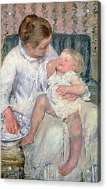 Mother About To Wash Her Sleepy Child Acrylic Print by Mary Stevenson Cassatt