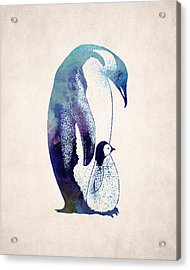 Mother And Baby Penguin Acrylic Print by World Art Prints And Designs