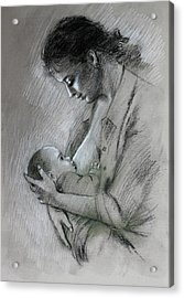 Mother And Baby Acrylic Print by Viola El