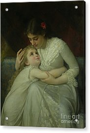 Mother And Child Acrylic Print by Emile Munier