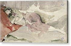 Mother And Child On A Couch Acrylic Print by James Abbott McNeill Whistler