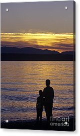 Mother And Daughter Holding Each Other Along Edmonds Beach At Su Acrylic Print by Jim Corwin