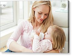 Mother And Daughter With A Bottle Acrylic Print by Ian Hooton