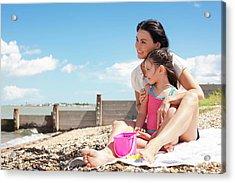 Mother Daughter On Beach Acrylic Print by Ian Hooton
