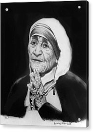 Mother Teresa Acrylic Print by Anthony Falbo