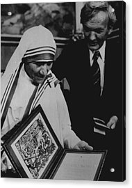 Mother Teresa Gets Award Acrylic Print by Retro Images Archive