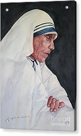 Mother Teresa Acrylic Print by Kyong Burke