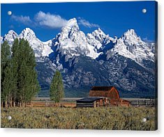 Moulton Barn Tetons Acrylic Print by Leland D Howard