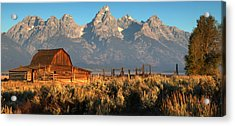 Moulton Barn - The Tetons Acrylic Print by Stephen  Vecchiotti