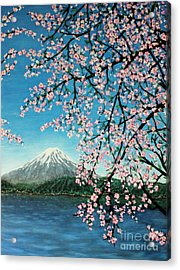 Mount Fuji Cherry Blossoms Acrylic Print by Sheena Kohlmeyer