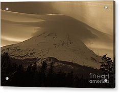 Mount Hood In The Clouds Acrylic Print by Cari Gesch