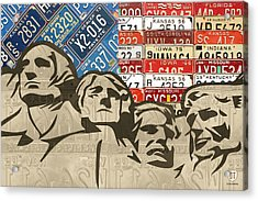 Mount Rushmore Monument Vintage Recycled License Plate Art Acrylic Print by Design Turnpike