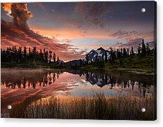 Mount Shuksan Fiery Sunrise Acrylic Print by Dan Mihai