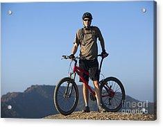 Mountain Biker Acrylic Print by Mike Raabe
